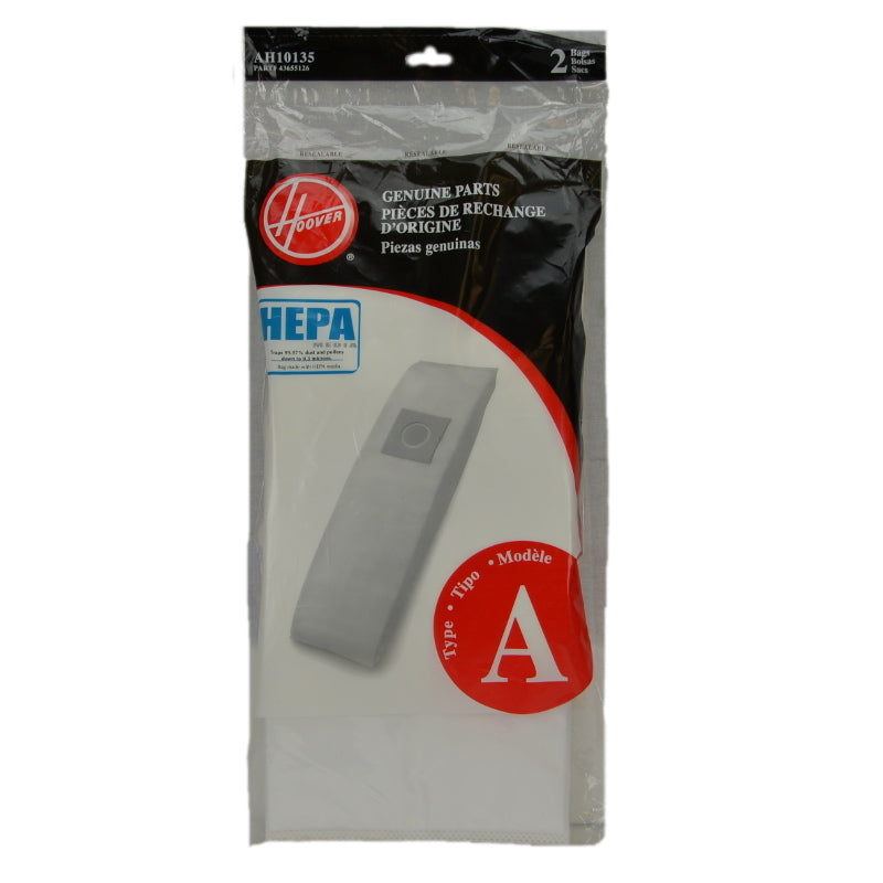 Hoover Type A Hepa Vacuum Bags Upright 2Pk Genuine Part AH10135, 43655126