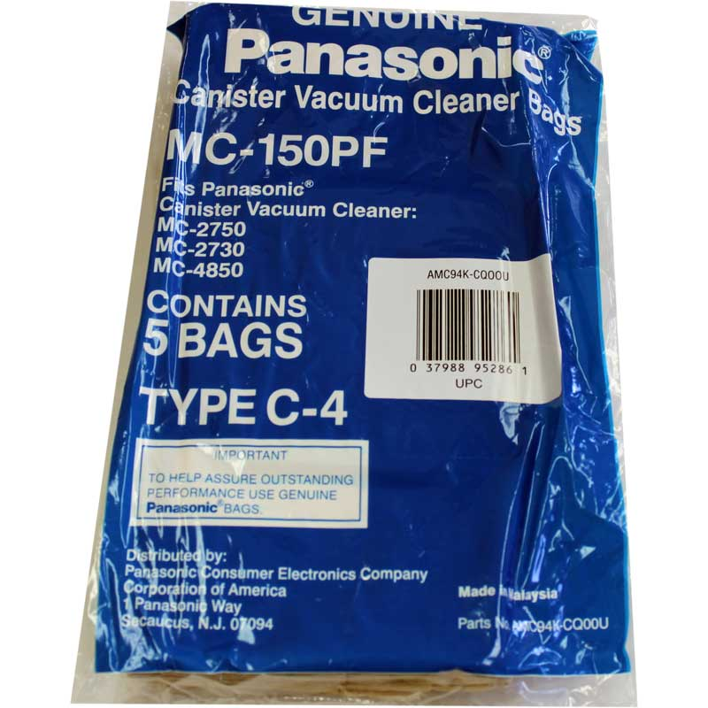 Panasonic Vacuum Bags 5pk Part MC-150PF