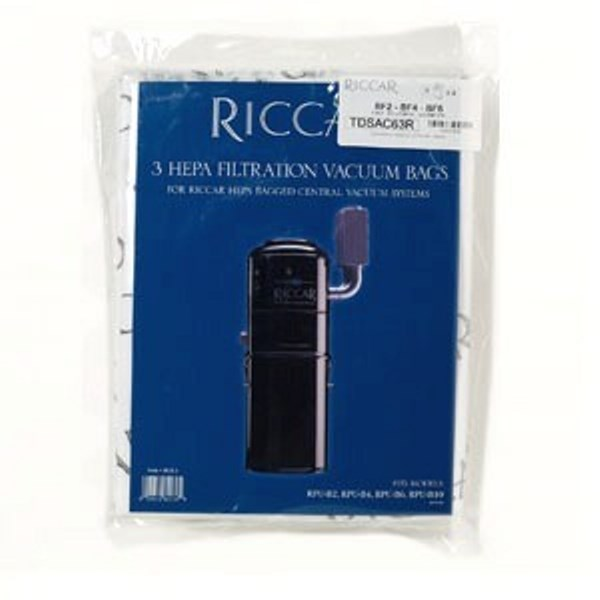 Riccar Central Vacuum HEPA Media Vacuum Bags 3pk for RPU-BF100 and RCU-H11 Part RCB-HD3