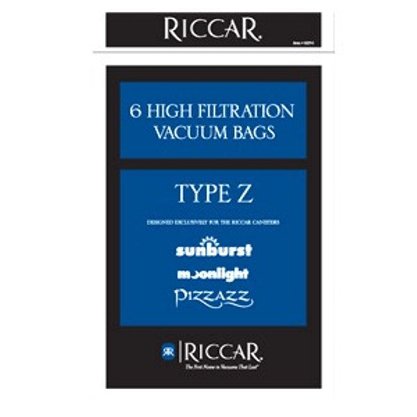 Riccar Canister Vacuum Paper Bags for Pizzazz, Moonlight and Sunburst, 6 Pk Part RZP-6