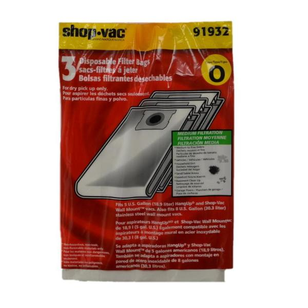 Shop Vac Type O Hang Up Collection Bags, 3pk, Part SV-9193200, 9193200, 91932