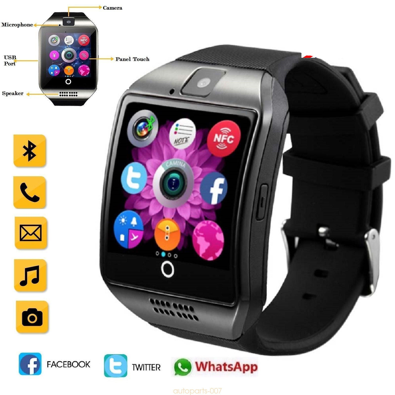 mobile bluetooth waterproof mate watches phone android iphone silver ebay smart for itm watch nfc
