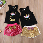 Toddler Girls Sleeveless Unicorn Top Sequins Short Pants - bump, baby and beyond