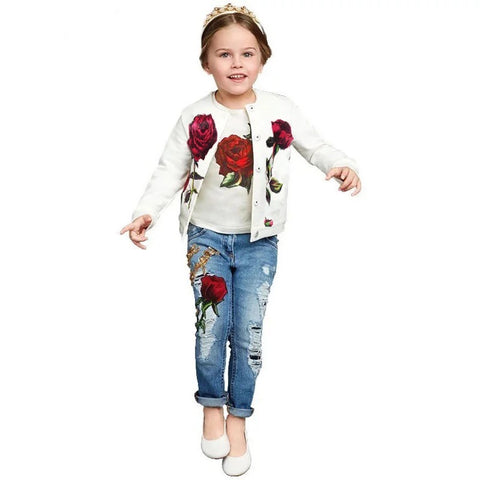 Newest girls rose jacket top jeans clothes - bump, baby and beyond