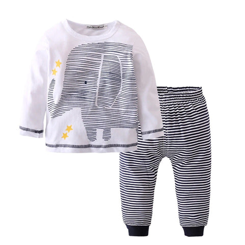 Baby Boys Striped Elephant Long Sleeve Shirt Pant - bump, baby and beyond