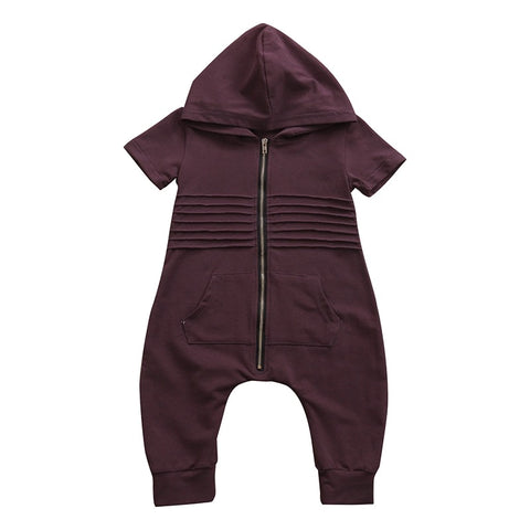 Baby boy romper short sleeve hooded zipper jumpsuit clothes - bump, baby and beyond
