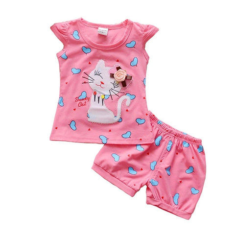 Newborn girls cat t-shirt tops short sets suit clothes - bump, baby and beyond