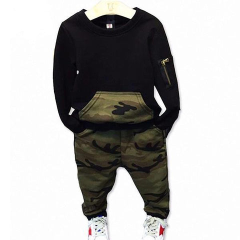 2pcs Tops Camouflage Boys Long Sleeve  Pants Clothes - bump, baby and beyond