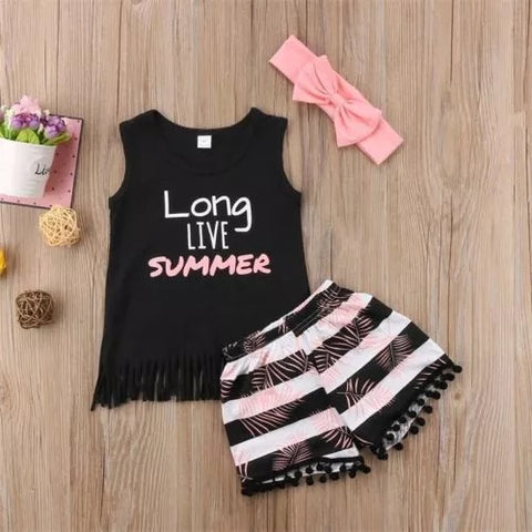 Summer girls sleeveless tops pants outfit sets - bump, baby and beyond