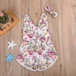 Toddler Girls Floral Sleeveless Cotton Romper Headband Clothes - bump, baby and beyond