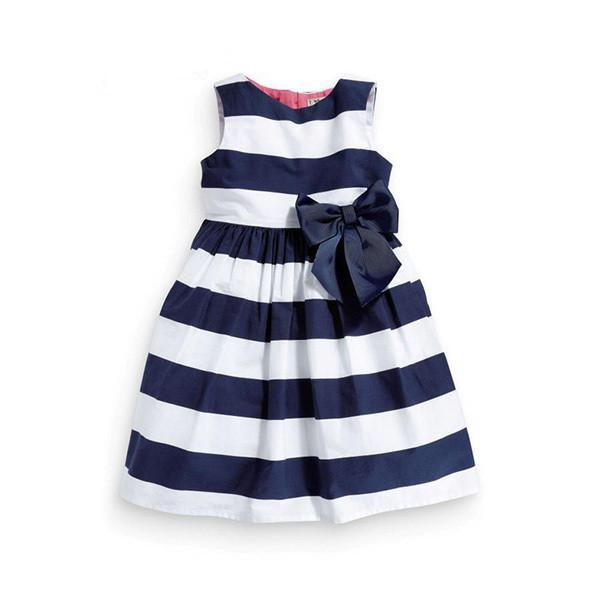 Sleeveless Kids Girls One Piece Striped Bow Tutu Dress - bump, baby and beyond
