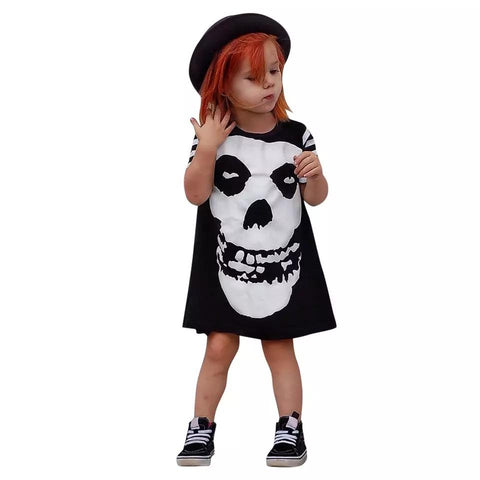 Short Sleeve Girls Halloween Skull Costume Party - bump, baby and beyond