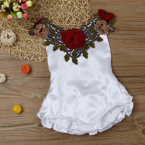 Embroidery baby girl white red flower onesie printed clothes - bump, baby and beyond