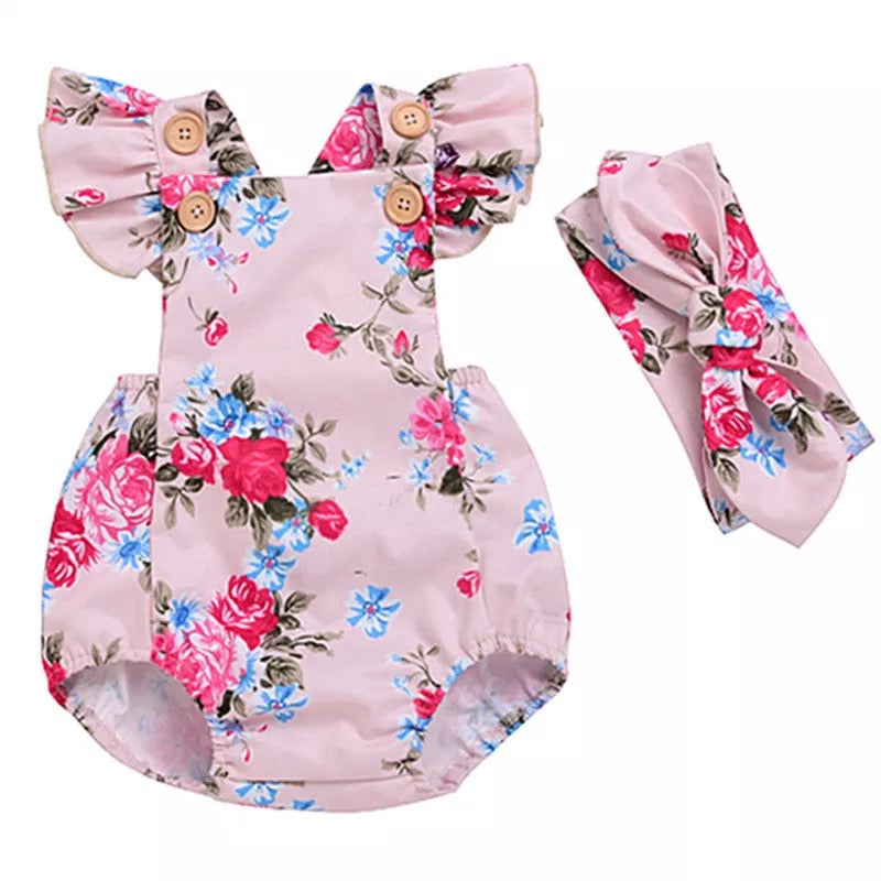 Summer Baby Girls Sleeveless Bodysuit Flower Headband Outfit Clothes - bump, baby and beyond