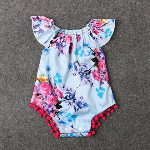 Baby girl flower prints tassels off shoulder onesies - bump, baby and beyond