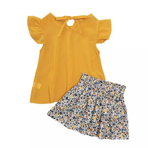 Fashion Girls Ruffled Bow Tops+Skirt Outfit - bump, baby and beyond