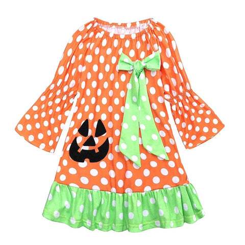 New girl polka dot pumpkin Halloween dress costume - bump, baby and beyond