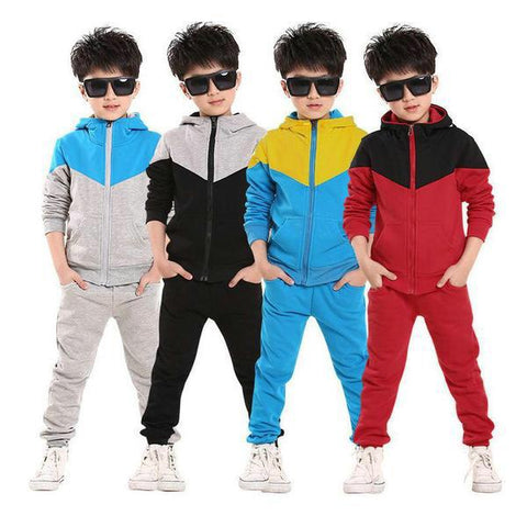 casual kid boys tops tracksuit hooded coat long pants - bump, baby and beyond