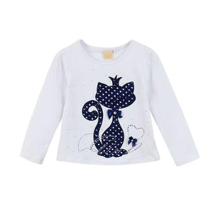 Brand kid s girl clothes print rhinestone cat bow long sleeve shirt - bump, baby and beyond