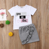 Complete Set Kid Baby You Go Girl Tops Skirt Clothes - bump, baby and beyond