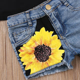 Kids Girl sleeveless floral vest tops+sunflower short pants - bump, baby and beyond