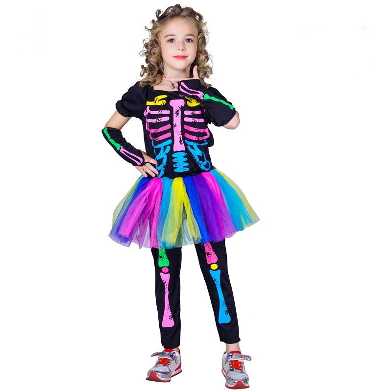 Girls Colorful Skeleton Party Dress Halloween Costume - bump, baby and beyond