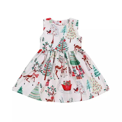 Toddler baby girls Christmas button geometry dress - bump, baby and beyond