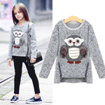 Girls Fleece Tops Lined Zipper Owl Sweater Clothes - bump, baby and beyond
