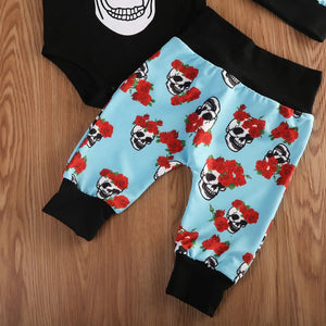 4pcs Baby Girls Skull Romper Jumpsuit Clothes - bump, baby and beyond