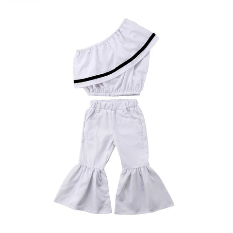 Stylish Girls One Shoulder Bell Bottom Pants Clothes - bump, baby and beyond
