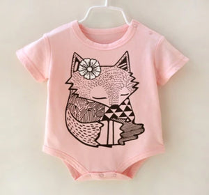 Short Sleeve Babies Girls Boys Wolf Animal Design Romper Cotton Clothes - bump, baby and beyond