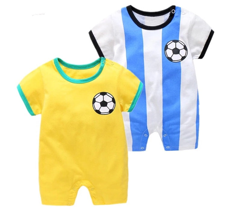 Baby Boy Girl Romper Short Sleeve Soccer Football Clothes - bump, baby and beyond
