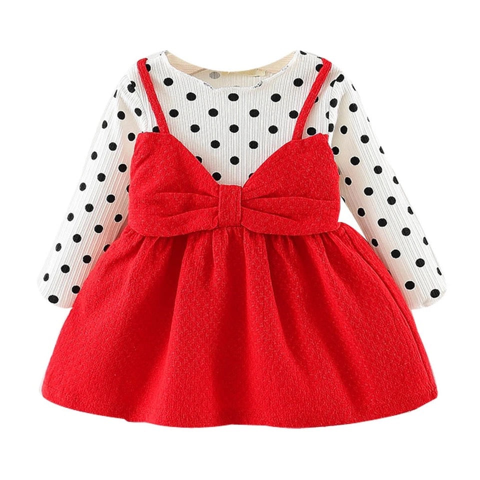 Newborn Baby Girl Dot Bowknot Dress - bump, baby and beyond