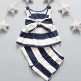 Girls Bow Tie Stripe Sleeveless Dresses With Short Pant Clothes - bump, baby and beyond