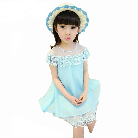 Cute girls dress chiffon lace dress pearl clothes - bump, baby and beyond