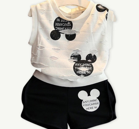 Summer baby kid girls short shirt Minnie  + pants clothes - bump, baby and beyond