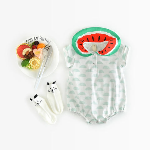 Cute baby girls bodysuit printed short sleeve clothes - bump, baby and beyond