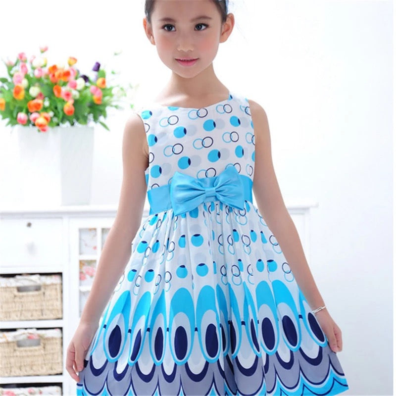 Cute Printed Girls Bow Peacock Party Dress - bump, baby and beyond