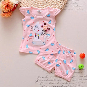 Newborn Girls Cat T Shirt Tops Short Sets Suit Clothes - bump, baby and beyond