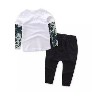Baby Boys Letter Printed Cotton T Shirt Top Pant Outfit - bump, baby and beyond