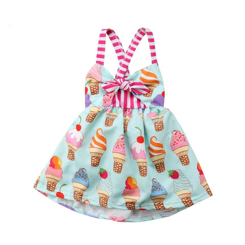 Toddler babies girl sleeveless ice cream strap dress - bump, baby and beyond