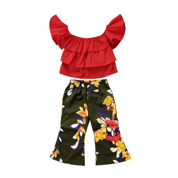 Kids Girls Off Shoulder Tops Floral Pants Clothes - bump, baby and beyond