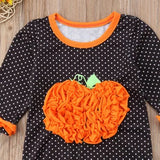 Halloween dot long sleeve ruffles jumpsuit outfit clothes - bump, baby and beyond