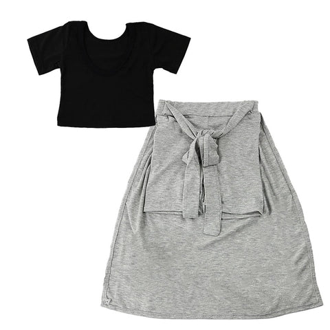 baby kid girls black shirt + grey skirt clothes - bump, baby and beyond