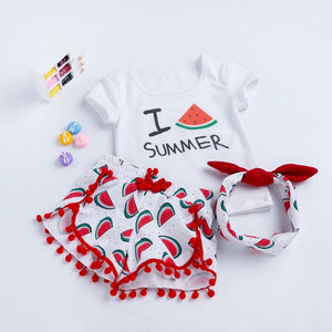 Lovely Baby Kid Girls Short Sleeve With Headband Outfit Clothes - bump, baby and beyond