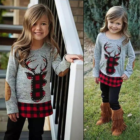 Toddler Girl Elk Paid Children Easter Clothing Sets