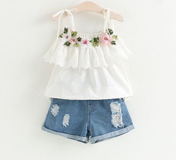 Baby Girls White Jacket Flower+Denim Shorts Clothes - bump, baby and beyond