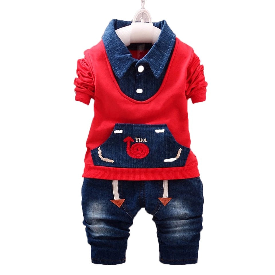 Baby Boy Outfit Red Grey Jacket Denim Pants - bump, baby and beyond