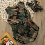 Baby Girl Sleeveless Army Green Bodysuit Clothes - bump, baby and beyond