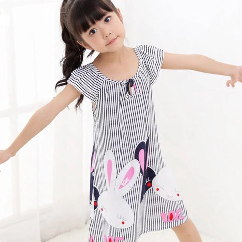Cute kid girls nightgown short striped clothes - bump, baby and beyond